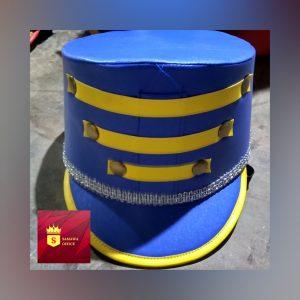 topi drumband warna biru
